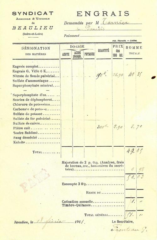 Ancienne facture datant de 1911