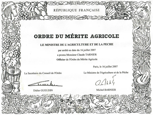 Ordre du mérite Agricole de Claude Tarnier